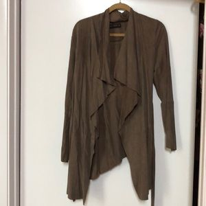 Suede wrap jacket with drapes. Never worn